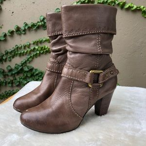 Fossil Taupe Leather Cuffed Slouch Boot
